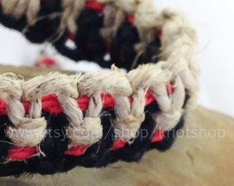 Hemp Macrame Bracelet, Anklet or Choker - Natural, Black and Red - Adjustable - 6 to 12 Inches - Unique Hemp Jewelry