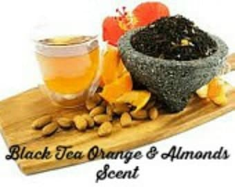 BLACK TEA ORAnGE & ALMoNDS Scented Soy Wax Melts - Soy Tarts - Unique - Wickless Candle - Highly Scented - Hand Poured - Hand Made In USA