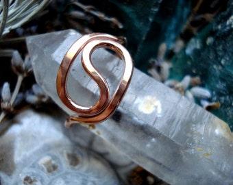 Yin Yang Swirl Copper Soldered Unisex Ring