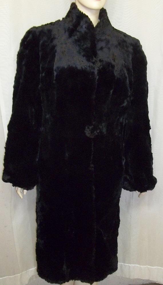Vintage Black Hudson Seal Sheared Muskrat Coat By