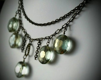 Light Green Crystal & Antiqued Brass Chain Necklace