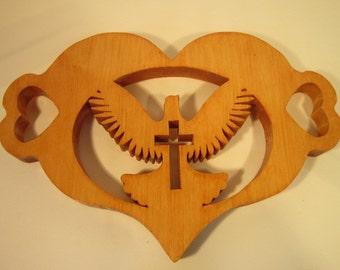 Trivet Dove with Cross Design Handmade