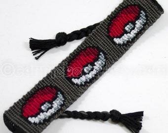 "Pokemon Pokeball 1"" wide Friendship Bracelet - Made to Order"