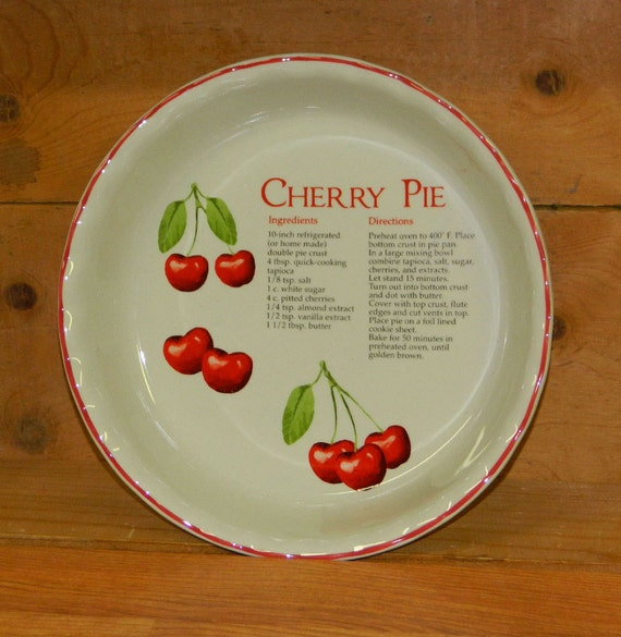 Cherry Pie Plate Ceramic Printed Recipe Vintage Decorative Or