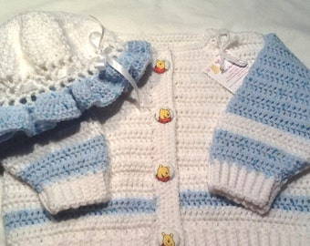 Baby Girl Crocheted Sweater and Frilly Hat with Winnie the Pooh Buttons