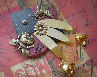Springtime - mixed media brooch pin