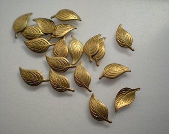18 tiny brass leaf charms, No. 4