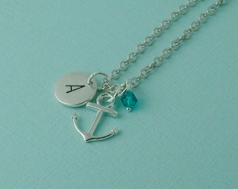 ANCHOR NECKLACE // Initial necklace // personalized // Birthstone