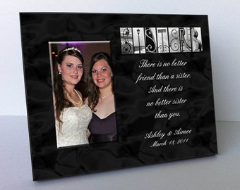 """Sisters Architectural Name Alphabet Letter Art Personalized Black and White 8""""x10"""" Frame with a 4""""x6"""" Opening"""