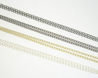 Silver, Gold, Copper or Antique Gold Plated 3.5mm x 5mm Hammered Oval Soldered Link Curb Chain with Clasp for Lanyard Add-Ons