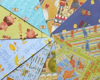 DESTASH - Joann: Nursery Rhymes Piggies - Pack of 11 Different Scrapbook Papers, 6 inch X 6 inch