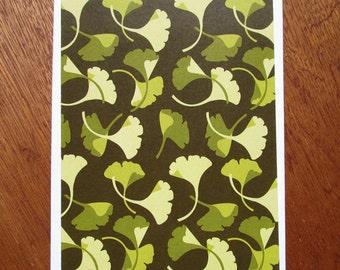 Ginkgo Pattern Note Card