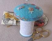 Primitive Mushroom Pincushion - Teal Felt  & Embroidered Roses
