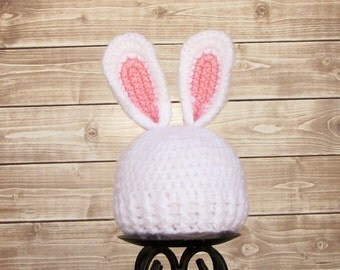 White 3 to 6 month Bunny Hat, White Easter Bunny Hat, Baby Boy Bunny Hat