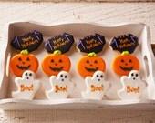 Mini Halloween Cookies - 24 Bat, Pumpkin, Ghost Mini Halloween Sugar Cookies