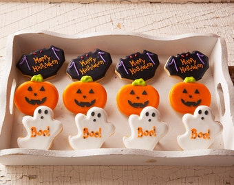 READY to SHIP on TUES 10/25 Mini Halloween Cookies - 12 Bat, Pumpkin, Ghost Mini Halloween Sugar Cookies