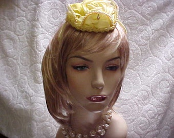 Big yellow rose topper fascinator hat with side prongs- faux pearls