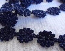 "Dark Blue Flower Ribbon Trim, Craft Ribbon Trim, Flower Trim, Scrapbooking Supplies, 1/2"" (1 cm) Wide Flower Embellishment Trim,  9 Yards"