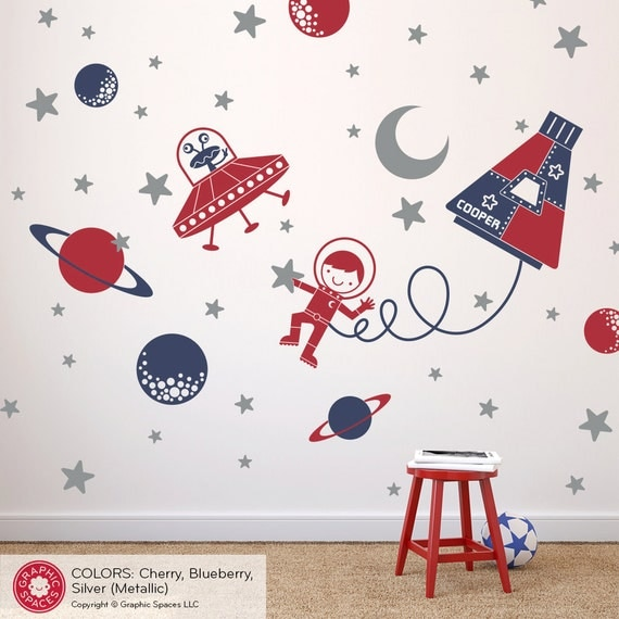 Outer Space Nursery: Space Walk Boy Wall Decal Sticker Art ...