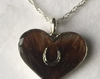 Horse Hair Jewelry Sterling Silver heart pendant  with horseshoe accent Pet Resin horse hair jewelry