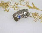Handmade Fine Silver Slide Bead Textured and Antiqued