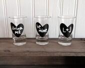 24 Mini Heart Chalkboard Stickers - Chalkboard Heart Shot Glass Stickers, DIY Valentines, DIY Wedding Favor Jars