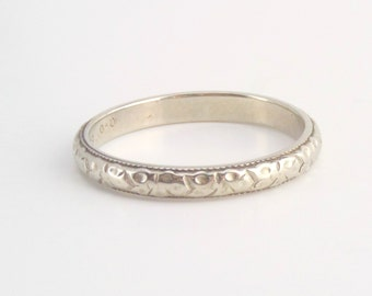 Antique 18k White Gold Eternity Band. Belais Wedding Ring. Art Deco Blossom. Size 7.25