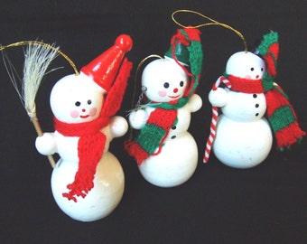 3 Wood Snowman Christmas Ornaments Vintage