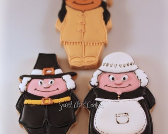 Custom Decorated Shortbread Cookies Thanksgiving