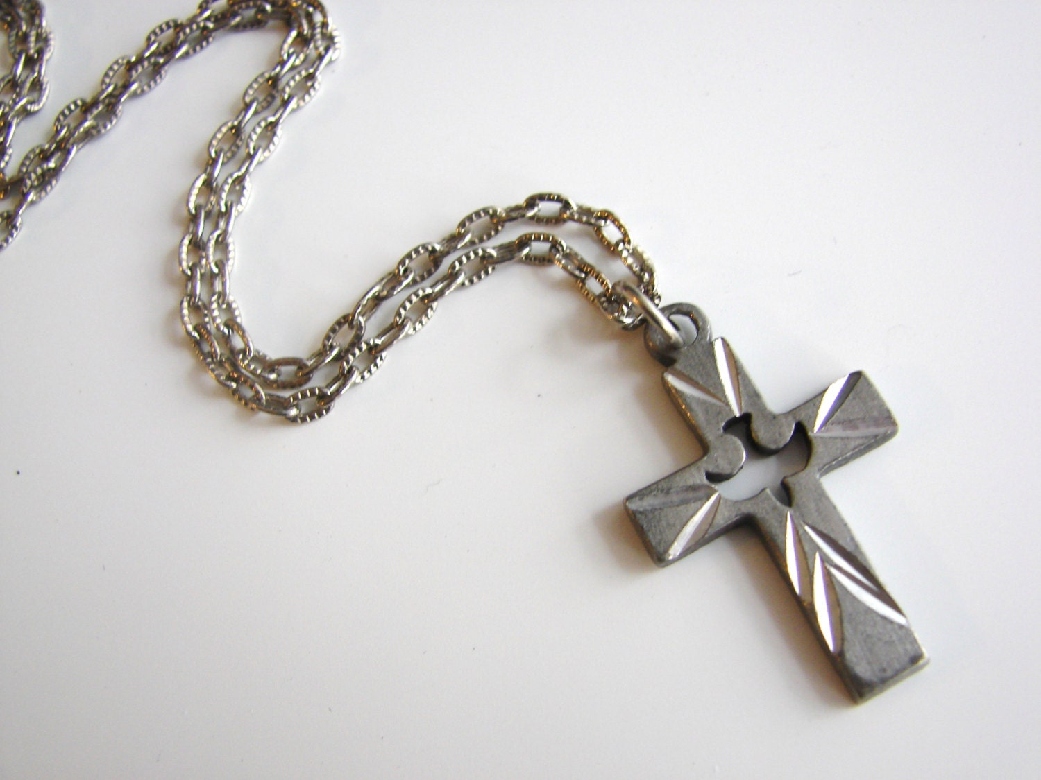 Vintage simple silver cross necklace with dove/ holy ghost