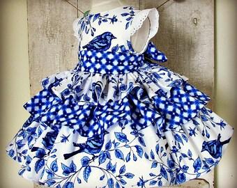 Girl dress wedding birthday blue and white ruffled eyelet