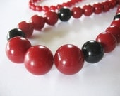 Lucite Bauble Necklace Deep Red Black Germany 1940s Long Length