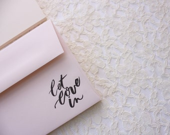 Let Love In - Stationery Cards / Customized with your name / Gold or Silver lettering