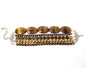 Golden chocolate brown tones beaded multi strand bracelet