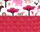 Minky Baby Blanket,  Personalized Pink Gray White Zoo Animal Stroller