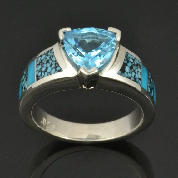 Spiderweb Turquoise and Turquoise Engagement Ring with Trillion Blue Topaz in Sterling Silver