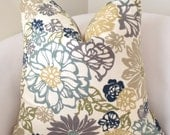 Floral Teal Blue Green Pillow Cover Decorative Throw Pillow Cushion Accent Pillow