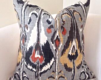 Decorative Throw Pillow Cover Gray Orange Pillow Ikat Pillow Cushion Accent Grey