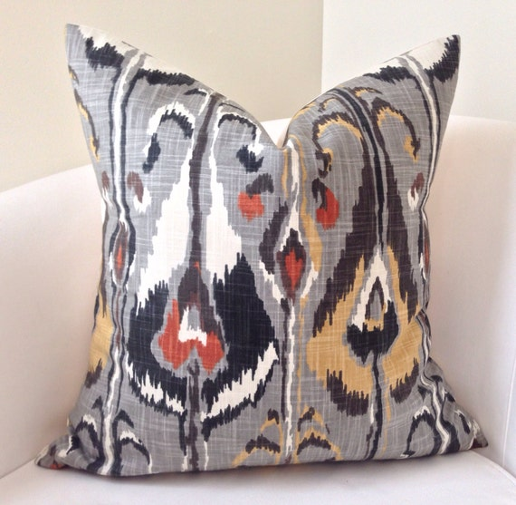 decorative throw pillow cover gray orange pillow ikat pillow. Black Bedroom Furniture Sets. Home Design Ideas