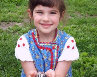 Ukrainian style dress, Party Dress, Blue, Eastern European Dress, girls' size 5
