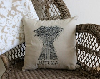 Decorative Autumn Wheat Linen Pillow Cover