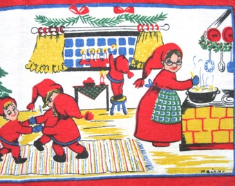 Vintage Christmas Swedish Table Runner Santa Elves Mrs. Claus BUHLER Gift for Mom