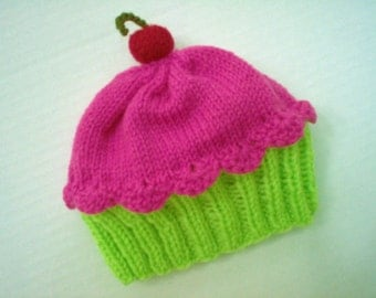 Cupcake Hat Cherry on Top Key Lime Green Cake Raspberry Watermelon Frosting Handmade Knit 6 8 12 18 months Children Adults 2 3 4 5 6 7  Teen
