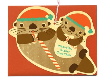 Santa Otters Real Wood Holiday Card Ornament - Real Birch Wood Christmas Card - Wishing you a Lotter Good Cheer - WC439