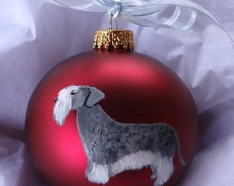 Cesky Terrier Dog White Hand Painted Christmas Ornament - Can Be Personalized with Name