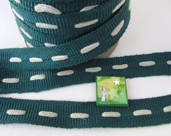 Vintage Trim Dark Green Cotton Ribbon Ivory Insertion Twill Japan 3/4 inch rib0122 (2 yards)