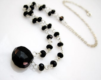Onyx Necklace Sterling Silver Chain Necklace