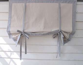 "Ticking 72"" Long Roll Up Window Shade Mitered Banding Tie Up Rolled Curtain Tie Up Curtain Swag Balloon"