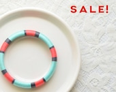 Blue and Pink Thread Bangle Bracelet - no. 508