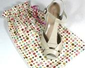 Shoe Bags, Travel, Storage, Dots, Circle, Set of 2, drawstring